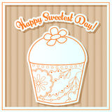 Happy sweetest day card with cupcake on cardboard Stock Photo
