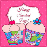 Happy sweetest day card with cupcake Stock Photography
