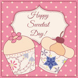 Happy sweetest day card with cupcake vintage Royalty Free Stock Image