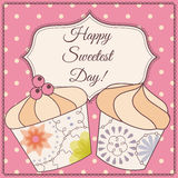 Happy sweetest day card with cupcake vintage. Vector Happy sweetest day card with cupcake vintage Royalty Free Stock Image