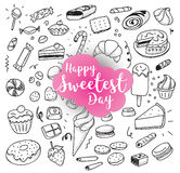Happy sweetest day. Greeting card or background with hand drawn sweets. Usable for greeting cards, backgrounds, posters Stock Photos