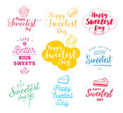 Happy sweetest day. Typography set. Vector design with hand drawn sweets. Usable for greeting cards, backgrounds, posters Stock Image