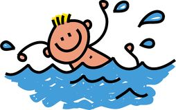 Happy Swimming Boy. Whimsical cartoon illustration of a happy boy swimming in the water Stock Photography