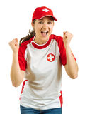 Happy Swiss sports fan. Photo of a Swiss sports fans excited and cheering for her team isolated over white background Stock Images