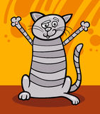 Happy tabby cat cartoon illustration Royalty Free Stock Photography