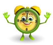 Happy Table clock character Stock Photo
