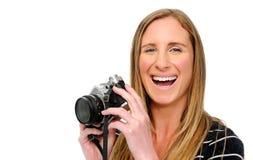 Happy taking photos Royalty Free Stock Photography