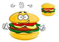 Happy tasty tempting cartoon hamburger character Stock Image
