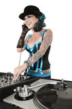 Happy tattooed DJ over white background Royalty Free Stock Photography