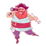 Happy tattooed pirate with a prosthetic, weapons, map and telescope. Royalty Free Stock Photo