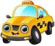 Happy taxi cartoon isolated on white background Stock Photos