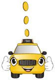 Happy taxi with coins. Smiling face of taxi show gesture cool under the flying cents Royalty Free Stock Photography