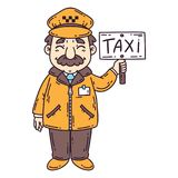 Happy taxi driver. Isolated objects on white background. Cartoon vector illustration. Taxi driver. Isolated objects on white background. Cartoon vector Royalty Free Stock Image