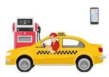 Happy taxi driver sitting in his car next to gas station Royalty Free Stock Images