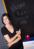 Happy Teacher Welcome Back Class Blackboard Stock Photos