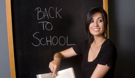 Happy Teacher Back to School Points in Book Stock Image