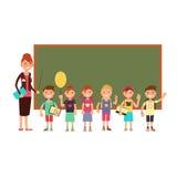 Happy teacher with kids in school. Teaching children vector background Stock Photo