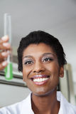 Happy Teacher Looking At Chemical Solution Royalty Free Stock Photo