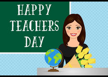 Happy teacher`s day. Concept with teacher. Vector illustration Royalty Free Stock Photography