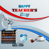 Happy Teacher's Day, design template with school books Royalty Free Stock Photos