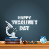 Happy Teacher's Day, design template with school books Stock Photo