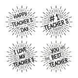 Happy Teacher`s Day different variants of the inscription Stock Photography