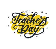 Happy Teacher`s day greeting card design with lettering and geom vector illustration