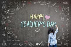Happy Teacher`s Day greeting for World teachers day concept with school student back view drawing doodle of of learning education
