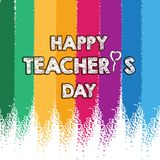Happy Teacher`s Day Layout Design with colorful chalk card Stock Illustration