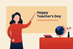 Happy Teacher`s day poster background template design. Woman teacher with explain gesture in front of the class room vector