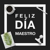 Happy Teacher`s Day in spanish. Minimalist design to congratulate your teacher, with elements in black and white, adding elements hipsters Royalty Free Stock Photography