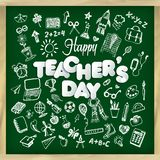 Happy teacher s day vector illustration in chalkboard style and lettering phrase. royalty free illustration