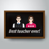 Happy teacher's day vector illustration in wooden frame Stock Photography
