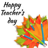 Happy teachers day banner. Autumn orange, green and red maple leaves with blue and green pencils in bouquet isolated on white background. Cartoon vector royalty free illustration