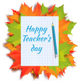 Happy teachers day banner. Autumn orange, green and red maple leaves with piece of notebook paper and pencil isolated on white background. Cartoon vector vector illustration