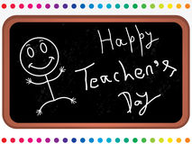 Happy_teachers_day_black_board_with_cartoon. Abstract vector illustration on the teachers day theme with black board Royalty Free Stock Photography