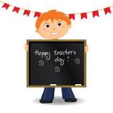 Happy teachers day card. Vector illustration. Cartoon character Royalty Free Stock Photography