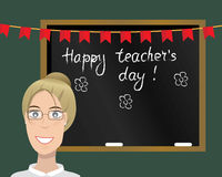 Happy teachers day card. Vector illustration. stock photos
