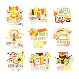 Happy Teachers Day Colorful Graphic Design Template Logo Series,Hand Drawn Vector Stencils. Artistic Promo Posters With Funky Font And Fun Design Elements royalty free illustration