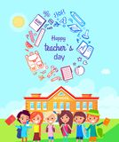 Happy Teachers Day Colorful Vector Illustration Stock Images