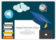Happy teachers day concept background Vector Illustration royalty free illustration