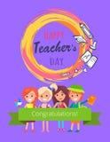 Happy Teachers Day Purple Vector Illustration vector illustration