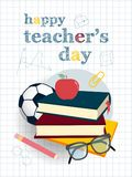 Teachers day set. Happy teachers day greeting card with apple and books Stock Images