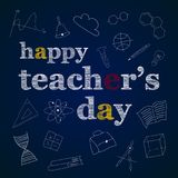 Teachers day set. Happy teachers day greeting card with apple and books Royalty Free Stock Photos