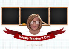 Happy Teachers Day. Greeting card. Happy Teachers Day. Female teacher in the background of the blackboard. Teachers Day card. Vector illustration Royalty Free Stock Images