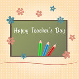 Happy Teachers Day. Greeting card. Teachers Day letters on school desk Royalty Free Stock Photos