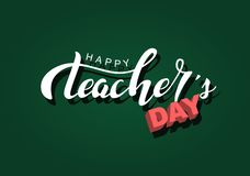 Happy teachers day Hand lettering design white inscription on a green chalkboard, handdrawn typography poster.