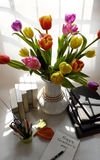 Happy teachers day, handmade tulip flower. Happy teachers day with handmade tulip flower pot, stack of books, pen, message for teacher in special day of stock photos