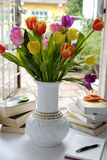 Happy teachers day, handmade tulip flower. Happy teachers day with handmade tulip flower pot, stack of books, pen, message for teacher in special day of stock images