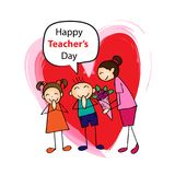 Happy teachers day. Happy teachers day with kids and female teacher Royalty Free Stock Images